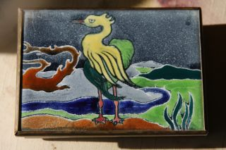 ' 30s Or ' 40s Enameled Box; Yllw Crane W/river; Made - Copper,  Tile,  Brass & Wood photo