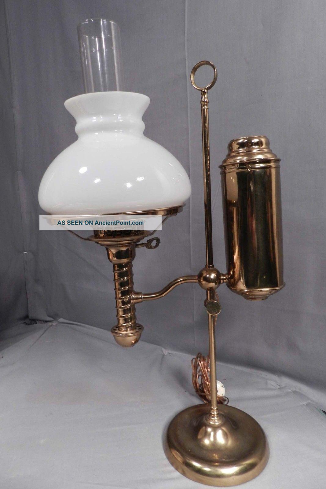 Antique Brass American Student Lamp Argand Oil Wired Kerosene Victorian Desk - Antique Brass American Student Lamp Argand Oil Wired Kerosene