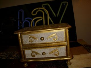 Vtg Italian Florentine Toleware Jewelry Box 2 Drawer And Music Box Excellent photo