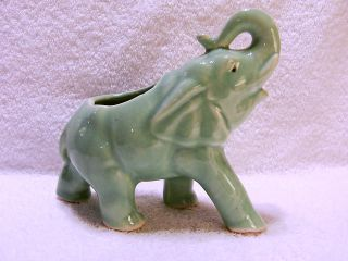 Vtg Elephant Planter / Holder Blue Glaze Raised Trunk Nr photo