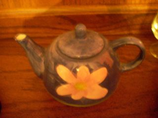 Yellow Flower Blue Handpainted Teapot photo