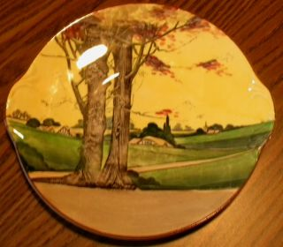 Antique Royal Doulton Serving Plate (handled) With Country Scene photo & plate antiques