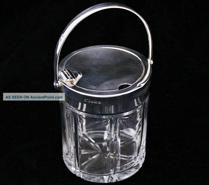 Great 1929 Art Deco Cut Glass & Sterling Silver Mechanical Lid Jam Jar Honey Pot Mustard Pots photo