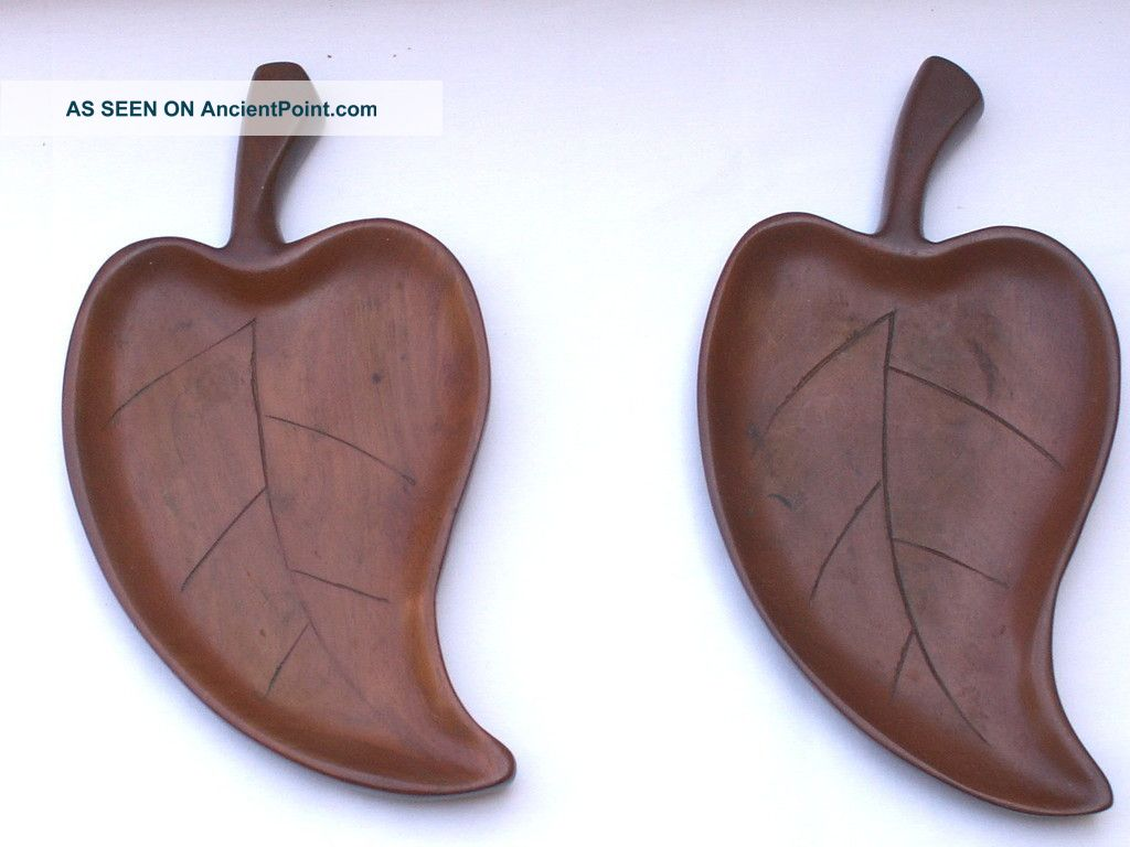 Vintage Hand Carved Mahogany Wood Leaf Dish / Tray (2) Made In Haiti Trays photo