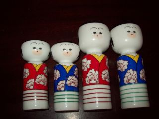 Great Vintage Two (2) Pair Of Japanese Figures Salt And Pepper Shakers photo