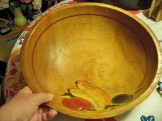 Lovely Primitive Large Wood Bowl photo