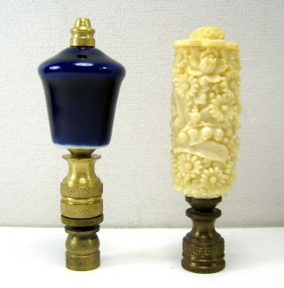 2 Antique Finials – Blue Porcelain And Ornate photo