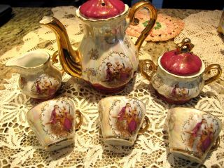 Vintage Wedding Romantic Victorian Couple Demitasse Chocolate Teapot Set Luster photo