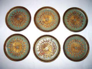 Florentine Gilt Tole Coasters Set Of 6 photo