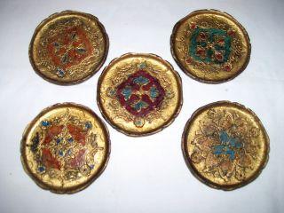 Florentine Gilt Tole Coasters Set Of 5 photo