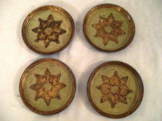 Florentine Gilt Tole Coasters Set Of 4 photo