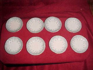 8 Antique Utopian Henry Alcock England Butter Pats - Delicate Pattern photo