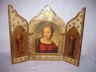 Italian Florentine Vintage Medium Triptych Madonna And Angels photo