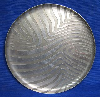 Modernist Australian June Culcutt Pewter Plate 1970 ' S Modern Design Art Signed photo