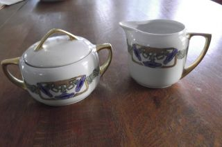 Art Deco Creamer/sugar From M Z Austria,  Purple Morning Glories W/gilt,  Lovely photo