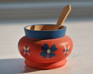 Hand Painted Norwegian Red Salt Cellar Pot With Spoon From 1940 ' S photo