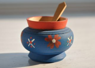 Hand Painted Norwegian Blue Salt Cellar Pot With Spoon From 1940 ' S photo