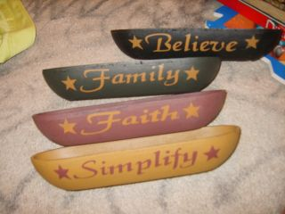 New Set Of Primitive Americana Wood Bowls Simplify Believe Family Faith Set photo