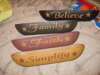 New Set Of Primitive Americana Wood Bowls Simplify Believe Family Faith Set photo