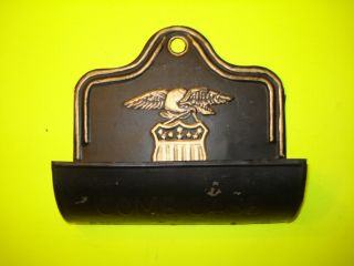 Antique Vintage Black Tin Tole Ware Comb Tray Case Wall Hanging Painted photo