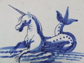 A Rare Delft Seacreature Tile With An Unicorn ++++++++++++++ photo
