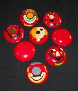 8 Vintage Munising Wood Bowls Primitive Clown Faces Painted On Bottom photo