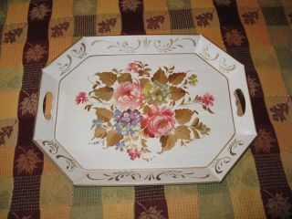 Vtg Floral Toleware Metal Shabby Chic Tray Handpainted Flowers photo