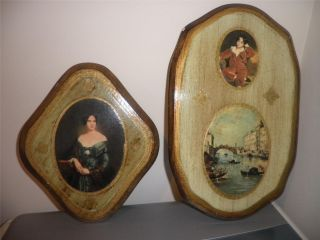 Vintage Italian Florentine Toleware Wall Plaque Set photo