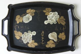 Vintage Hand Painted Tole Tray Handles photo