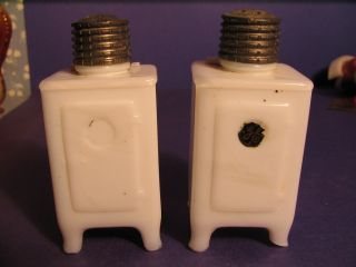 Antique Milk Glass General Electric Refrigerator Salt And Pepper Shakers photo