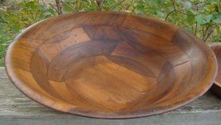 Vintage Old Wooden Turned Pieced Wood Bowl Set,  Large Bowl & 5 Smaller photo
