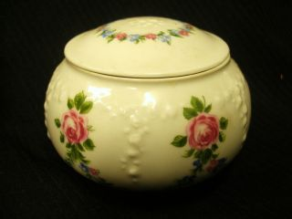 Antique German Porcelain Vanity Jar Trinket Box Wallendorf 1764 Roses Germany photo