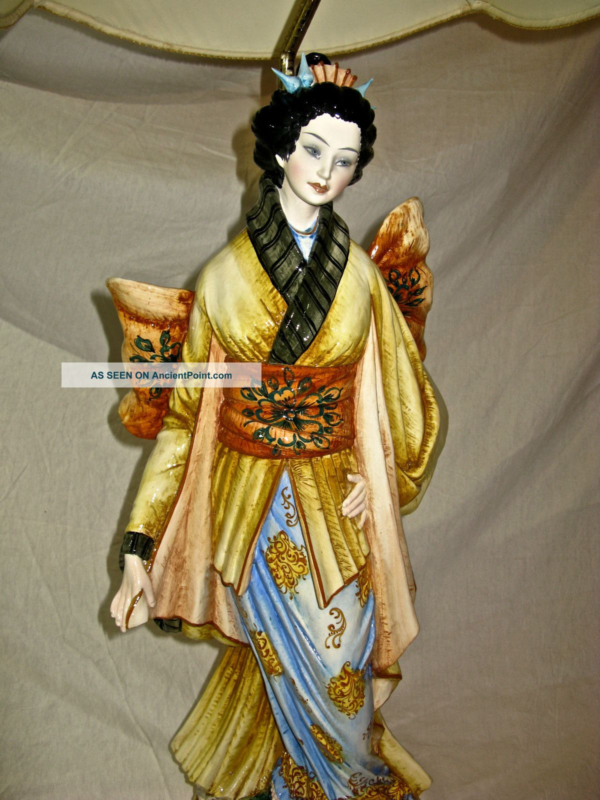 Vintage Benrose Porcelain Italy Japanese Geisha Girl Statue Lamp Base Table Lamp Figurines photo