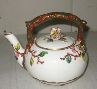 Antique 1876 Ejd Bodley Burselm Staffordshire Cherry Blossoms Personal Teapot photo