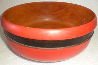 1890 ' Santique Old 1 Pieceteak Wood Rare Hand Carved Lacquer Police Serving Bowls photo