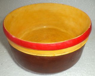 Antique Old 1 Pieceteak Wood Rare Hand Carved Lacquer Police Serving Bowls photo