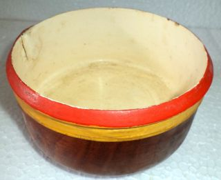 Old 1 Pieceteak Wood Rare Hand Carved Lacquer Police Serving Bowls photo