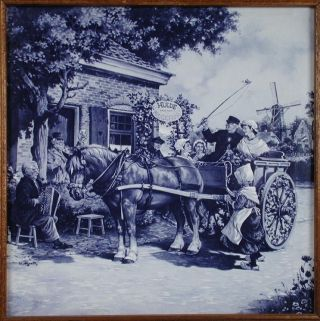 Blue Delft Style Dutch Holland Newlyweds Carriage Scene Ceramic Tile photo