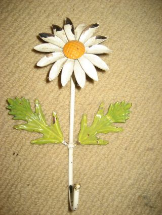 Antique Tole Daisy Flower Wall Hook Chippy Made In Italy 7