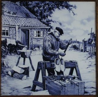 Blue Delft Style Mosa Holland Dutch Clog Shoe Maker Scene Ceramic Tile photo