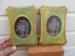 Pair Florentine Pictures Floral Green Made In Italy photo