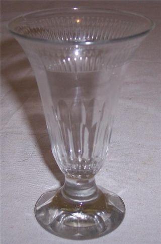 Georgian Blown Glass Wine Cut Bowl And Base Wheel Cut Flowers Rim Border Ca.  1800 photo