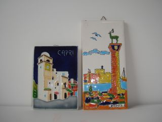Estate Find Vintage Rodos Lindos Capri Ceramic Tile Lot Scenic photo