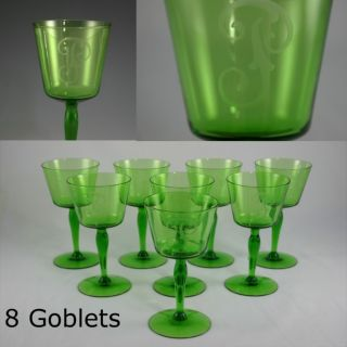 8 Antique Old Vintage Green Crystal Glass Wine Goblets Engraved F Or P photo