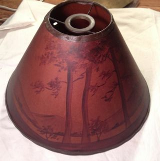 Old Hand Painted Landscape Scene Paper Lampshade.  Vg photo