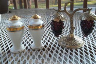 Favorite Bavaria Vintage Salt & Pepper Shaker Fine Porcelain & Grape Pewter photo