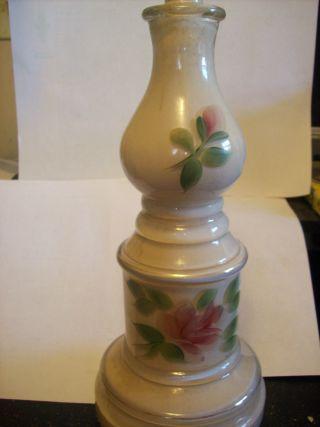 Antique Lamp Base Handpainted Floral Motif photo