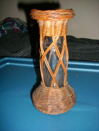 Antique Victorian Wickerware W/ Hand - Blown Glass (candlestick Holder?) Rare photo