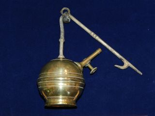 Rare Antique French Brass Hanging Whale Oil Lamp,  Mid - 19th C. photo
