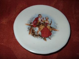 Small Butter Pat/dish With Eighteenth Century Romantic Couple photo